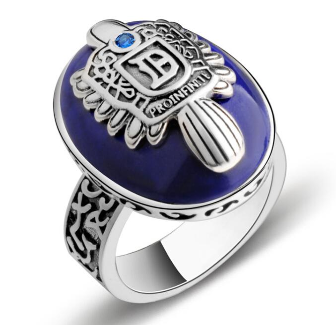Customize letter initial Men's Rings Vampire Diaries natural man made gemstone lapis lazuli men's jewelry(China (Mainland))