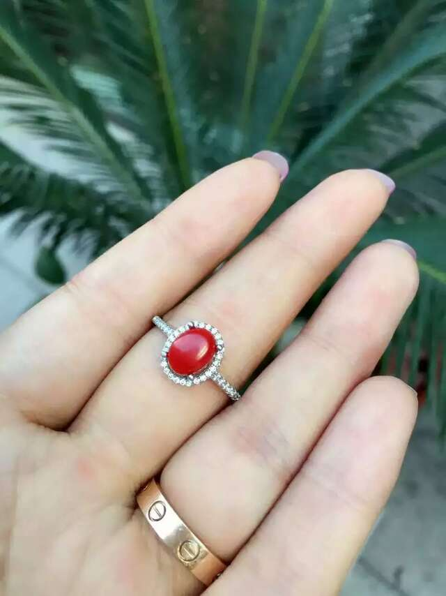 Fashion simple round natural red coral ring with 925 sterling silver natural gem stone ring for  women wedding fine ring jewelry<br>