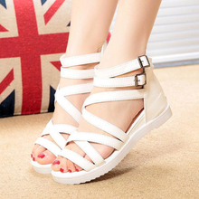2016 Summer New Black White PU Peep Toe Back Zippers Medium Slope Heels Wedges Sandals For Women Discount Cheap Sale Shoes(China (Mainland))