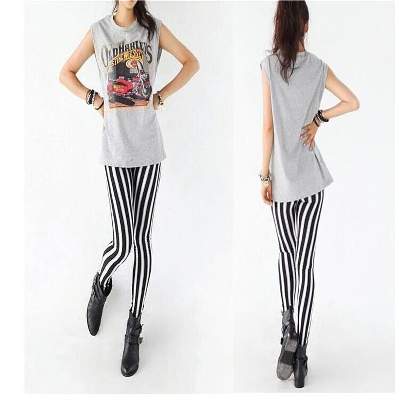 Free Shipping New Lady Fashion Skinny Chic Look Vertical Stripe Zebra Leggings Pants(China (Mainland))