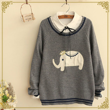 2016 japanese harajuku elephant winter new women's lovely patch casual striped knit sweater female wholesale side