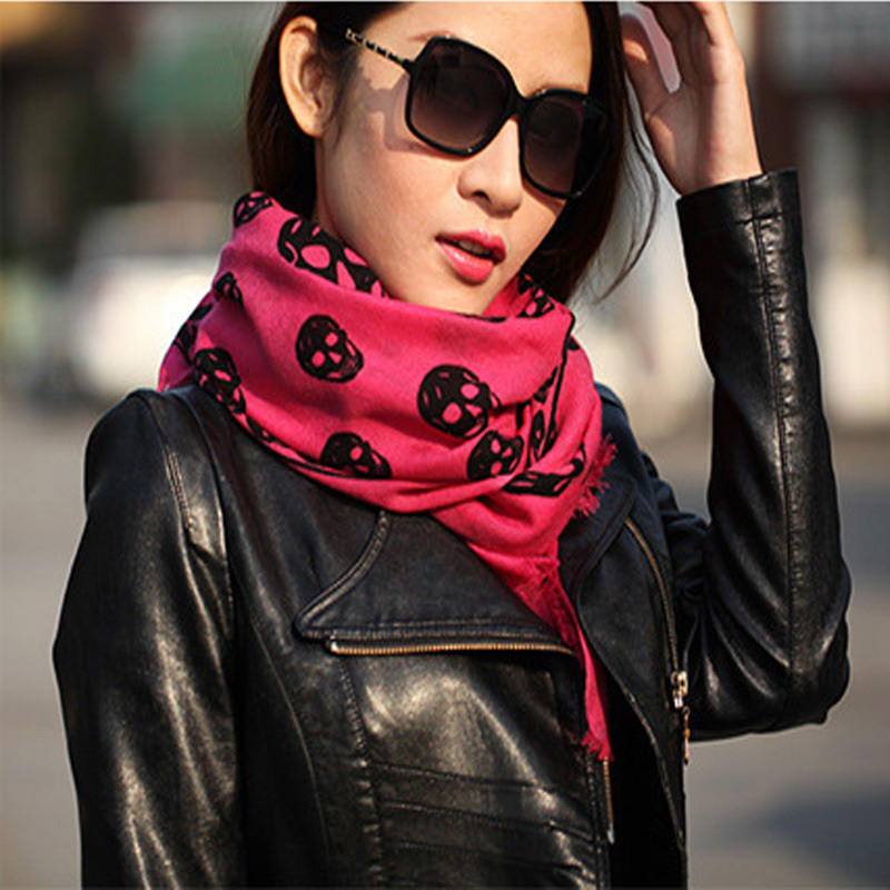 LING/ New Fashion 100% Wool Scarf Long,72*182cm Wafery Pattern Printed Skull scarf,Cashmere Ponchos For Women w028(China (Mainland))