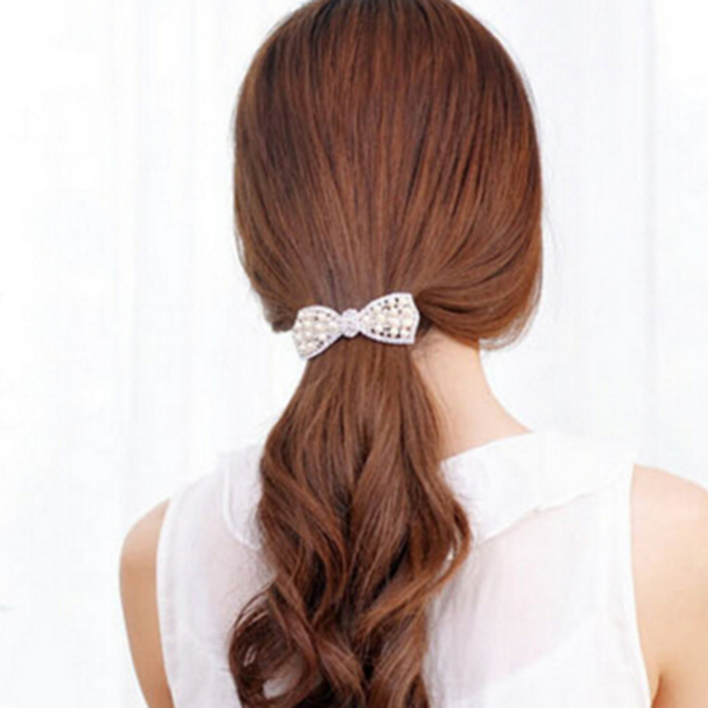 Hot Sale Fashion Women Girls Crystal Rhinestone Bow Hair Clip Beauty Hairpin Barrette Head Ornaments Hair Accessories with pearl(China (Mainland))