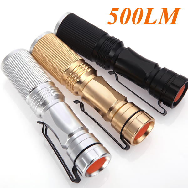 3-mode 500LM CREE LED Flashlight Torch Adjustable Focus Zoomable Light Lamp Black/Golden/Silver Flashilight For Camp Bicycle(China (Mainland))