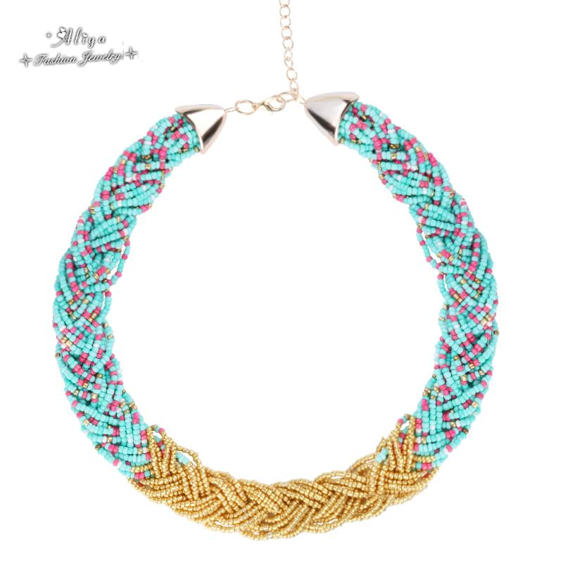 collares 2016 new Hot Sale Fashion brand jewelry Bohemian Bead chain Weave Mix Hit the color Necklaces for women Free Shipping(China (Mainland))