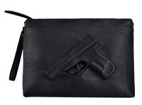 Unique women messenger bags 3D Print Gun Bag Designer Pistol Handbag Black Fashion Shoulder Bag Day Envelope Clutches With Strap