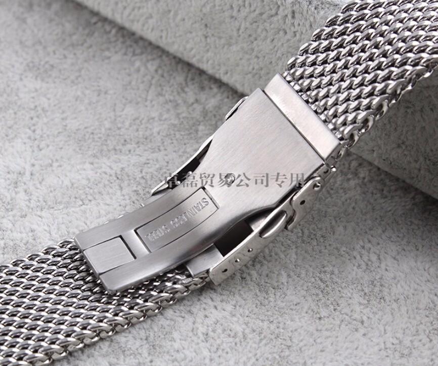 Ремешки 22 мм 24 мм серебряный массив из нержавеющей стали сетки браслет часы сетки группа дайвинг застежка замена
