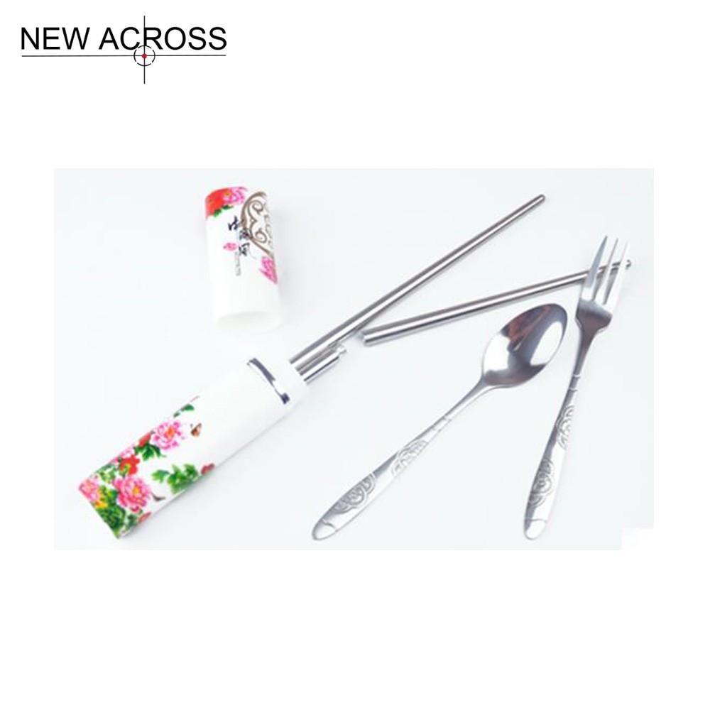 Buy Gohide Portable Tableware Metal Stainless Steel Spoon Chopsticks Piece Set Dinnerware Sets Spoon Fork Chopsticks Kit cheap