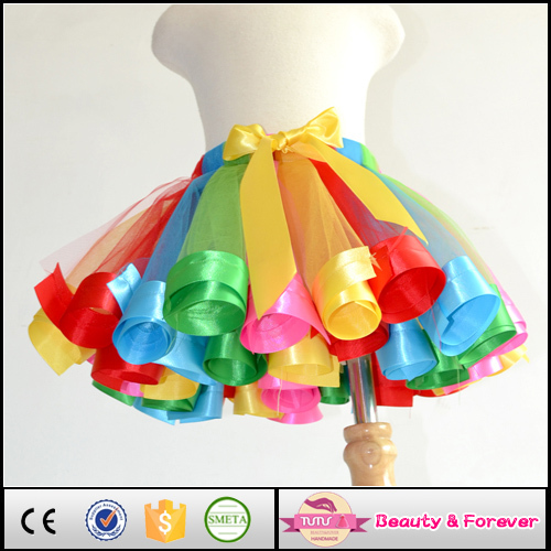 Custom ribbon trim girls tutu skirt ribbon edge children birthday tutu 1T- 8Y(China (Mainland))