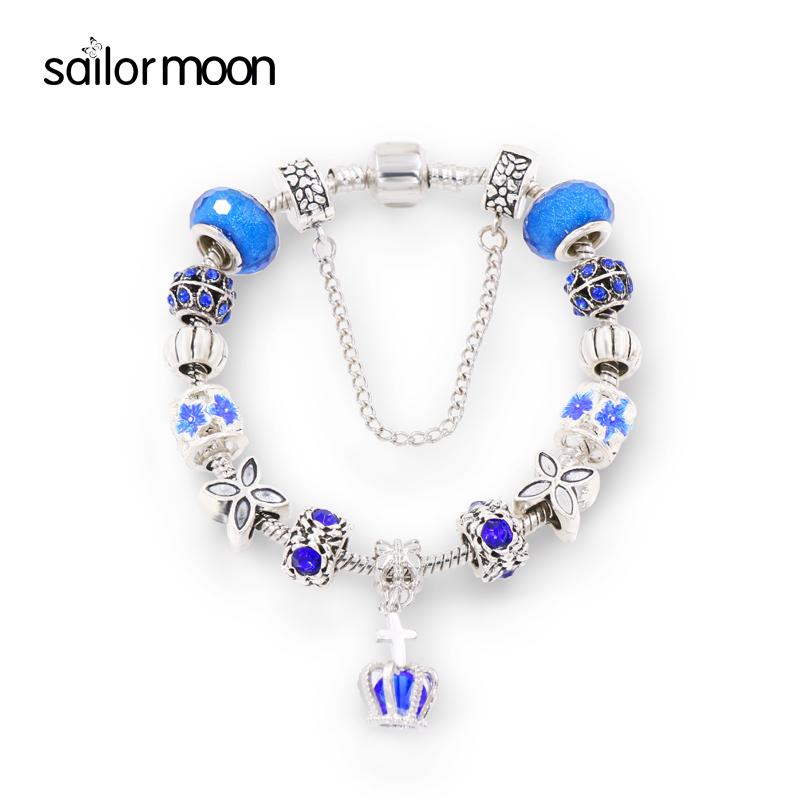 2016 new 925 silver charm bracelets for women famous brand jewelry DIY Crystal bracelet female crown bead bracelets & bangles(China (Mainland))