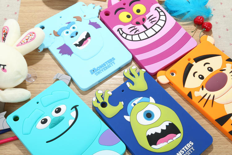 ! 2014 New Arrive Cartoon Cute Monsters Tiger Cat Silicone Rubber Back Cover Phone Case IPad MINI - T-WELL INC. store