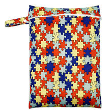 30*40cm PUL impreso bolsa de pañales de un solo bolsillo, bolsa húmeda impermeable, bebé pañal bolsas Cubo de lavandería bolsa de bebé pañal de tela(China)