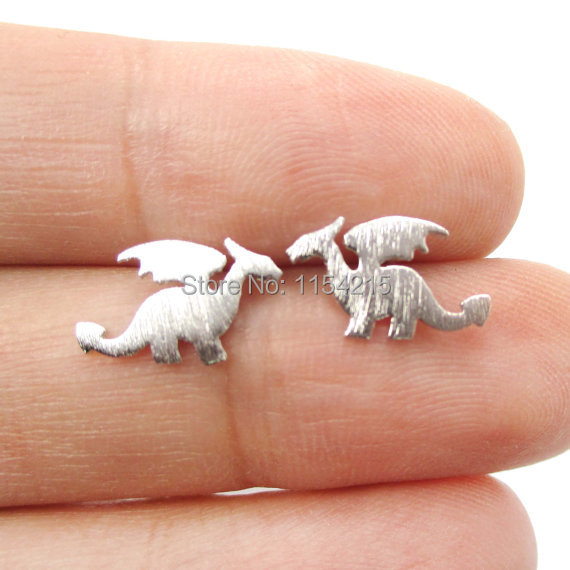 1pc-Gold and Silver Small Dragon Silhouette with Wings Animal Shaped Stud Earrings for Women Handmade Animal Jewelry EY-E077(China (Mainland))