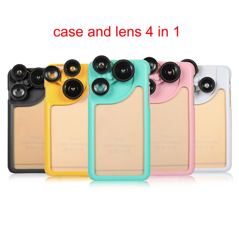 2016 luxury new case for apple iphone 6 4.7 with lens 4 in 1 by camera fish eye wide angle macro fashion protective shell cover(China (Mainland))