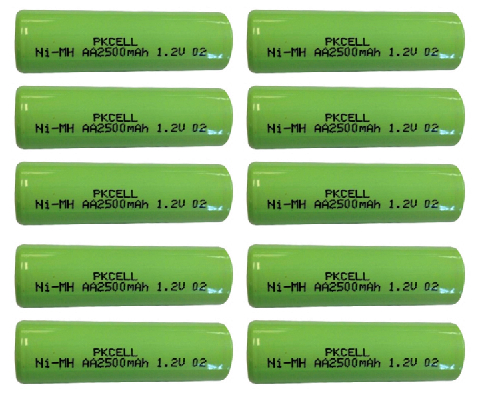 10Pcs 1.2v aa 2500mah rechargeable NIMH battery in flat top, non PCM, in industrial pvc packing(China (Mainland))