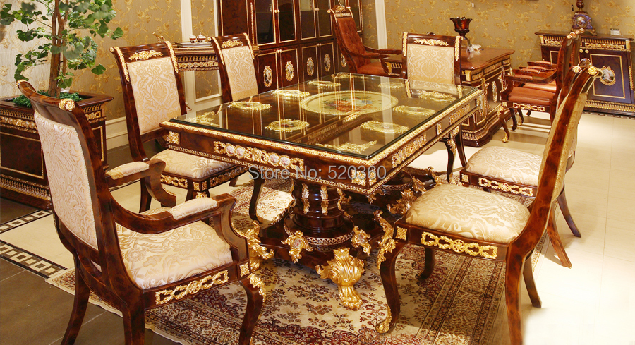 splendid luxury European style woodcarving rectangular dining table