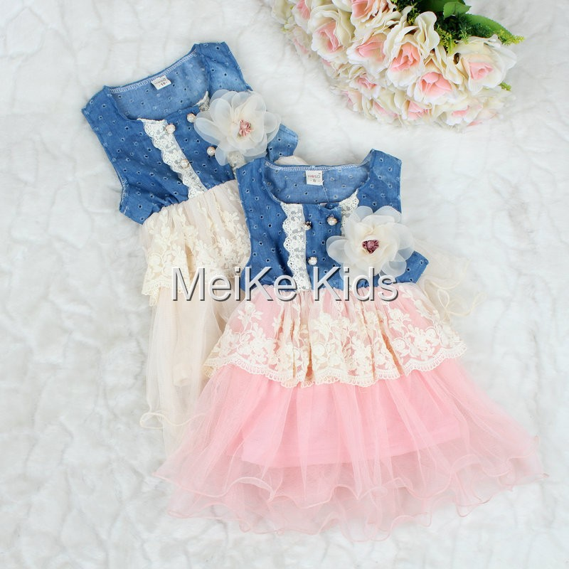 Baby Girls kids child toddler flower Chiffon Lace party pageant wedding evening bridesmaid Denim Dress Clothes(China (Mainland))