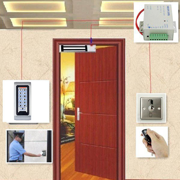 Full RFID Reader Door Access Control System Kit Electric Magnetic Lock + Power Supply + Door Entry keypad + Remote Controller(China (Mainland))