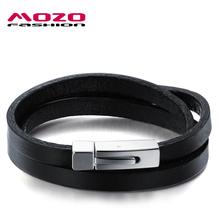 MOZO FASHION Hot Brand Men's Bracelet Black Double Layer Leather Bracelet Stainless Steel Bracelets Male Vintage Jewelry MPH908(China (Mainland))