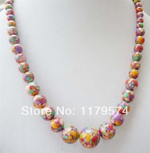 "new woman jewerly Free postage wholesale and retail Strand beautiful 6~14mm Sweety colorful tower long necklace  17""  WJ175(China (Mainland))"