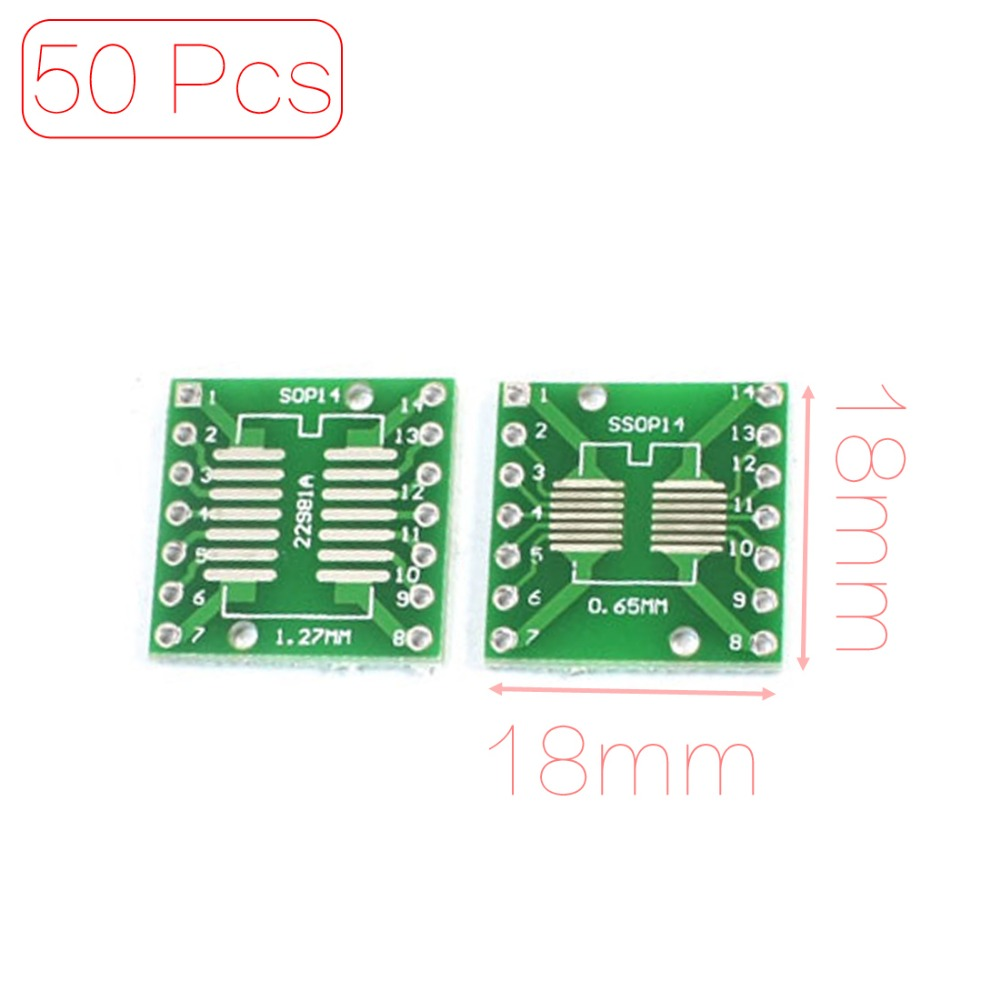 50PCS SMD SOP14 to DIP14 PCB SMD Adapter Plate Pitch 0.65/1.27mm Discount 50(China (Mainland))