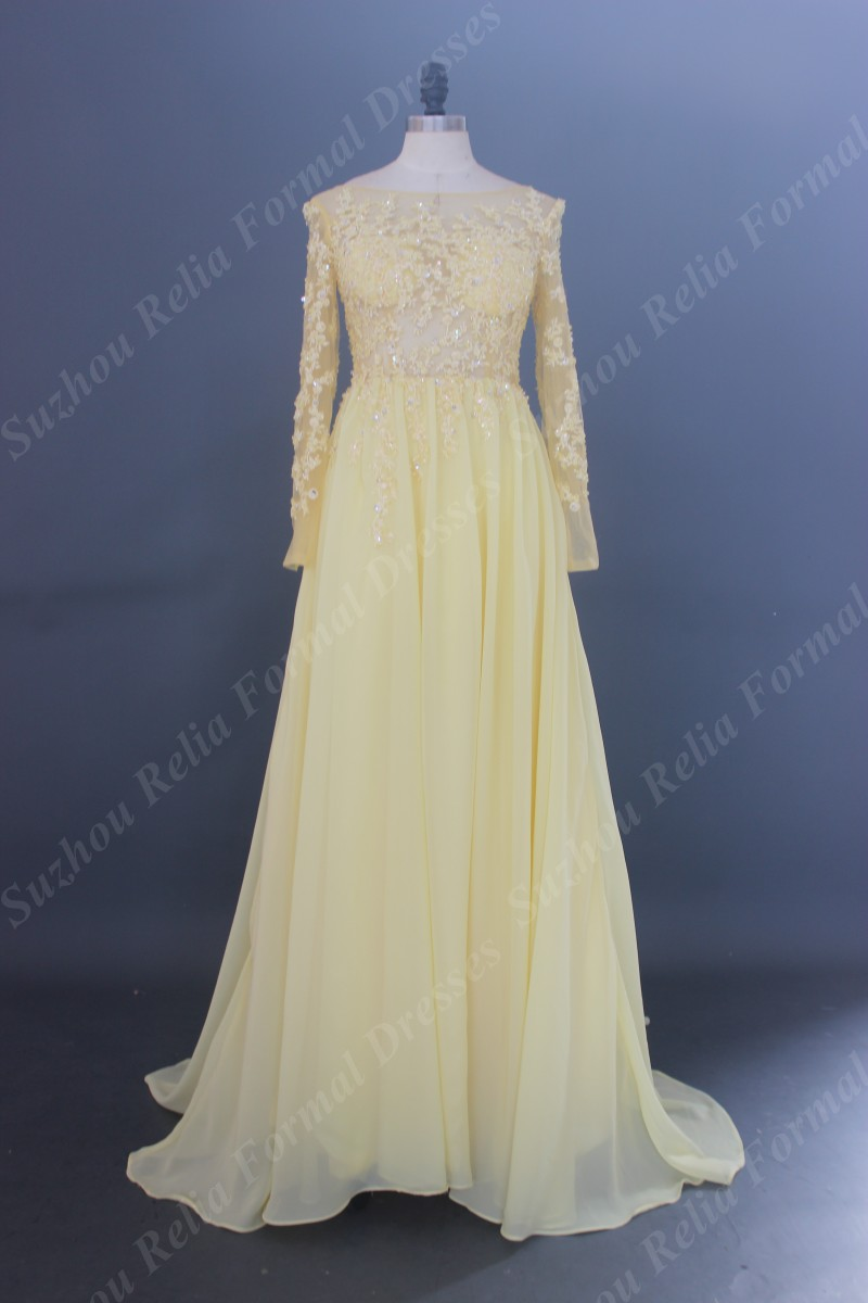 Popular long sleeve bridesmaid dresses yellow buy cheap for Yellow dresses for wedding guests