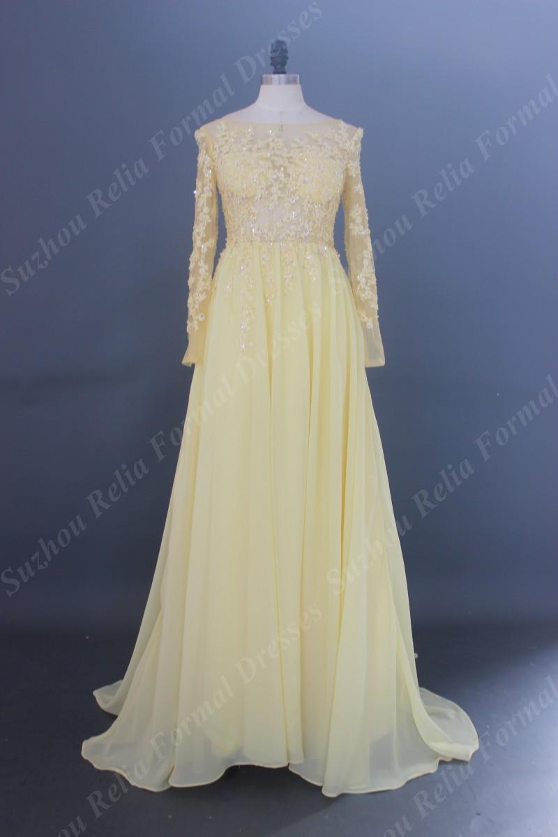 Popular Long Sleeve Bridesmaid Dresses Yellow Buy Cheap