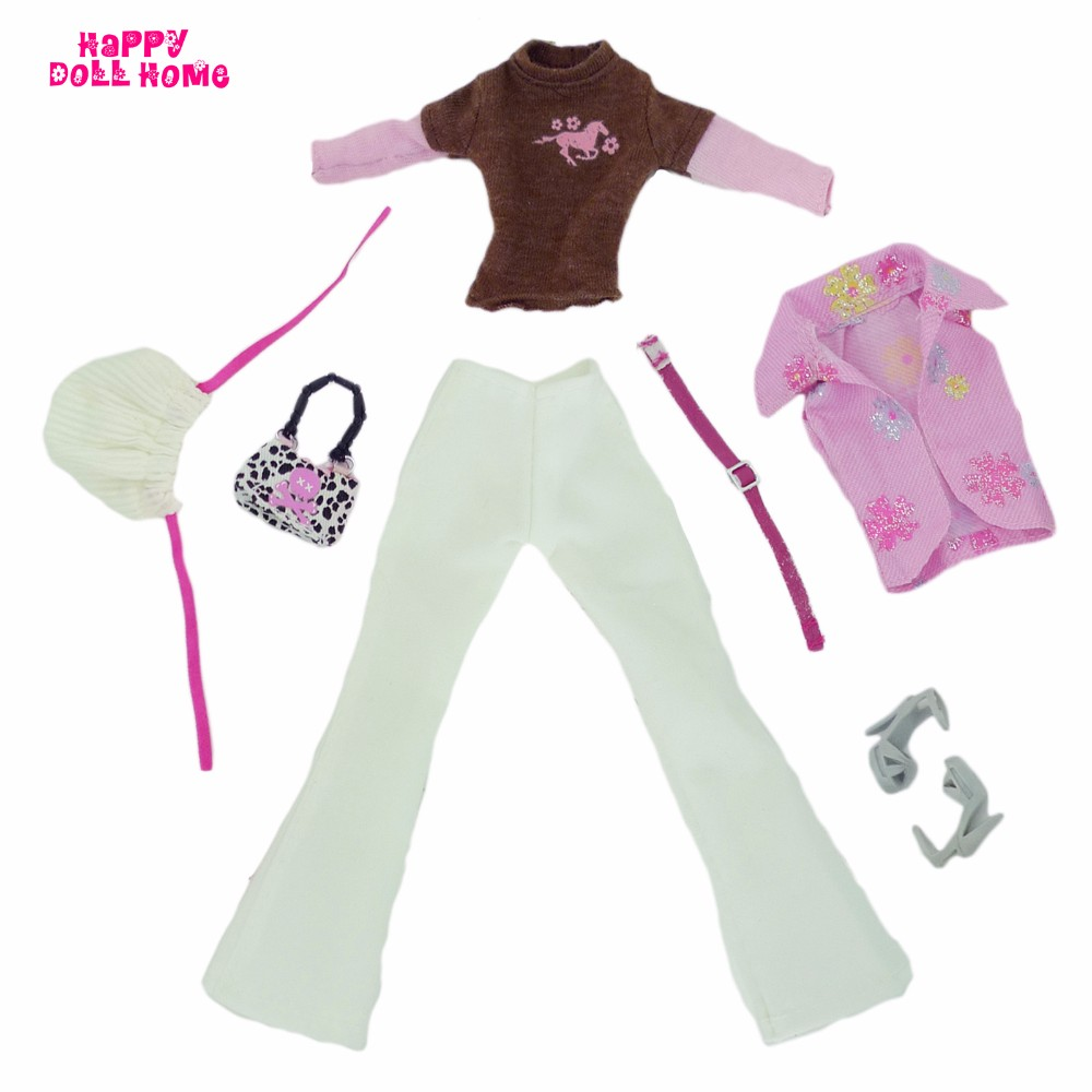 Autumn Winter Trend Outfit Lengthy Sleeves Shirt Waistcoat Trousers Belt Cap Footwear Purse Garments For Barbie FR Doll Equipment