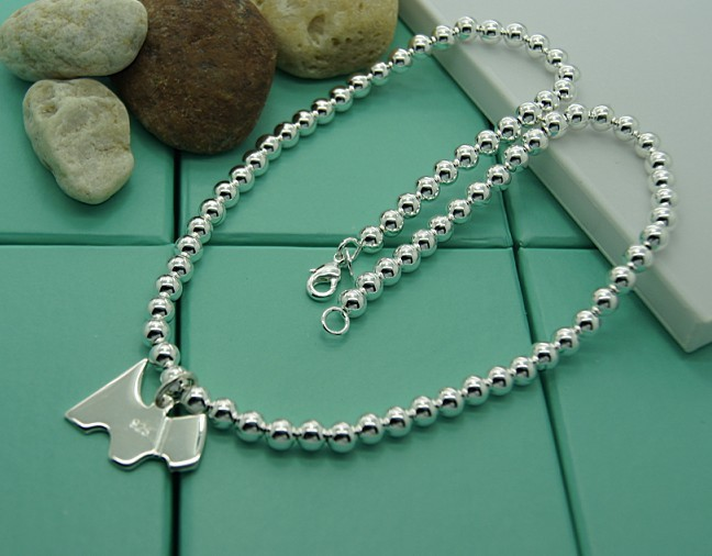 [Trust-Mart silver prayer beads dog tag necklace classic fashion jewelry Christmas Special(China (Mainland))