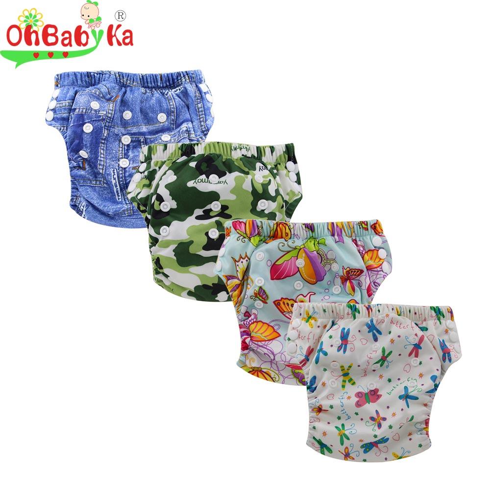 Ohbabyka Reusable Baby Traning Pants Washable Bamboo Nappies Baby Cloth Diapers For Babies Waterproof Print Infant Diaper Pants(China (Mainland))