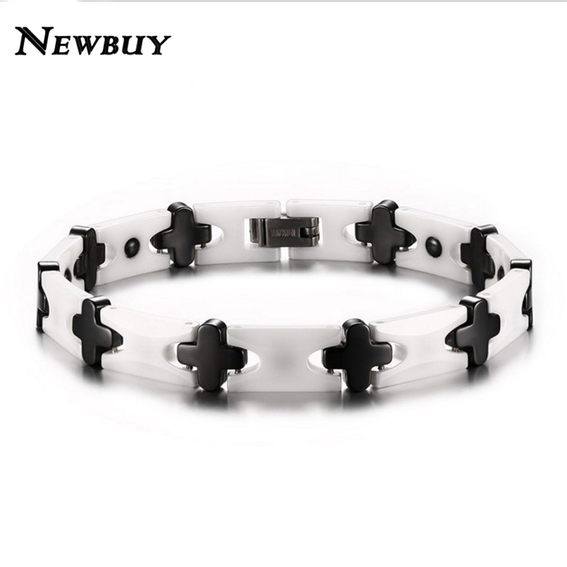 NEWBUY 2016 Hot Sale Fashion Women Men Ceramic Black Cross White Bracelets Bangles High Quality Healthy Energy Jewelry(China (Mainland))