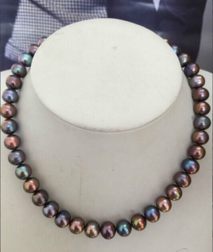 Miss charm Jew.675 stunning 10-11mm tahitian natural black green red multicolor pearl necklace 18<br><br>Aliexpress
