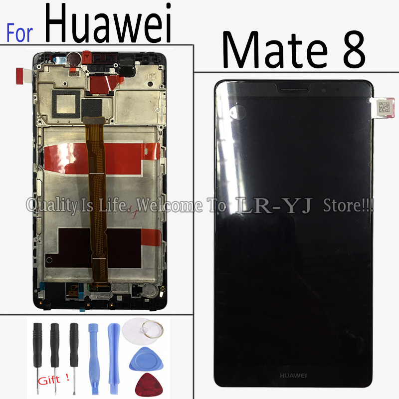 Original Black For Huawei Ascend Mate 8 LCD Display Touch Screen + Digitizer Assembly + Bezel Frame + Tools , Free shipping !!!