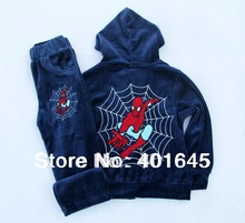 2014 new item boy spiderman long sleeve suit top+pant kids clothing set three colors(China (Mainland))