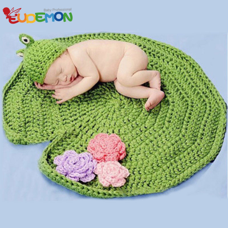 [Eudemon] 2016 New Style Lotus Leaf Frog Costumes For Newborn Photography Props Knitting Baby Hat Newborn Crochet Outfits(China (Mainland))