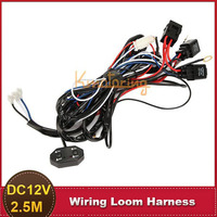 2.5M 12V Car Wiring Harness Loom LED HID Work Light Bar 40A Extended Wire Loom Cable Kit 3 Models With Fuse Relay
