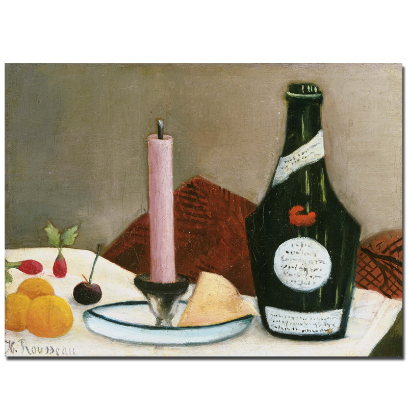 The Pink Candle With Wine Bottle By Henri Rousseau Still Life Paintings For Living Room Decor Wall Pictures No Frame(China (Mainland))