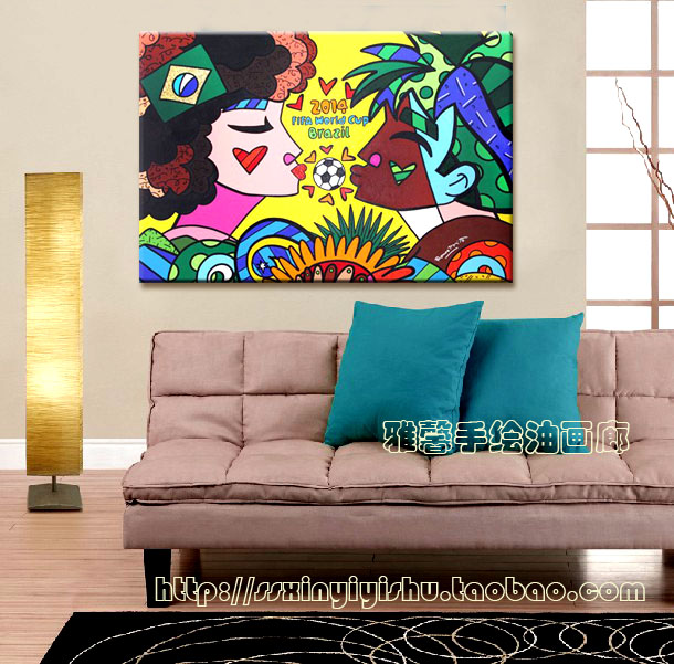 Hand painting popular fashion illustration modern frameless painting decorative painting the living room painted pop art paintin<br>