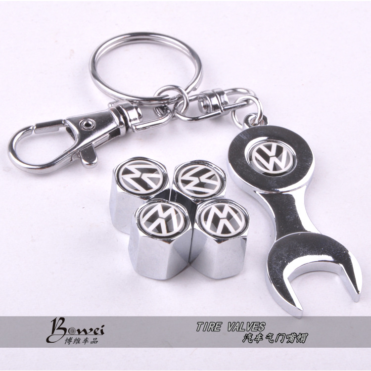 New Hot Sale Car Wheel Tire Valve Caps with Mini Wrench Keychain for VW Volkswagen 4