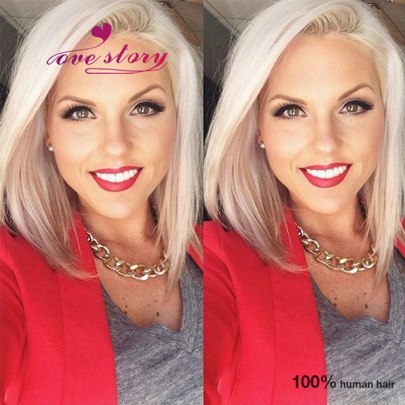 100% Unprocessed brazilian virgin full lace human hair wigs blonde short haircuts glueless front lace bob wig with baby hair<br><br>Aliexpress