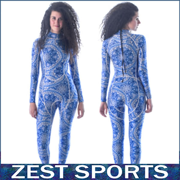 Фотография Top quality,3mm thick women long-sleeved Blue printing wetsuit, Individuality surf clothing, fall and winter, Neoprene,swimsuit