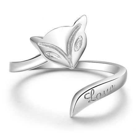 S925 Opend Fox rings Jewelry For Women Fashion Bague White gold plated Accessories bijouterie MSR008(China (Mainland))