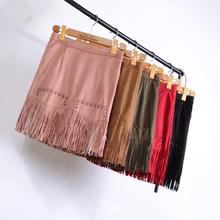 2016 High Waist Women Skirt High Street Pencil Mini Faux Leather Fringe Tassel Suede Short Asymmetrical Office Skirt faldas
