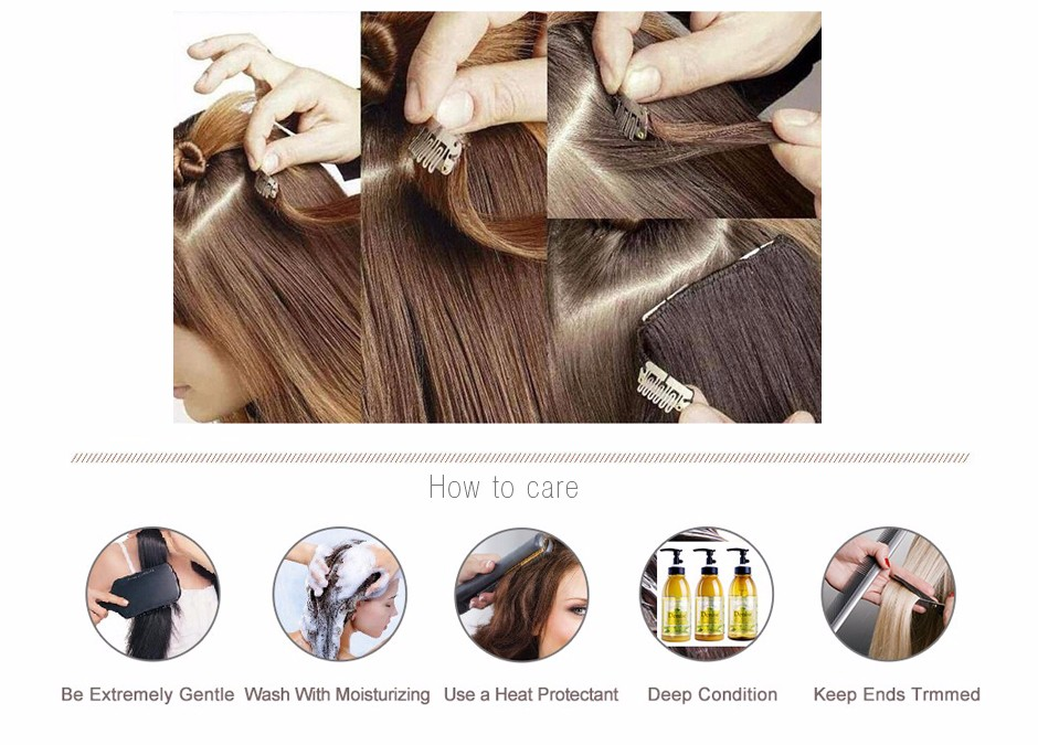 DHL Free 7A  Brazilian Virgin Clip In Hair Extensions 7-10 pcs/set Full Head Dark Brown #4 Straight Clip in Human Hair Extension