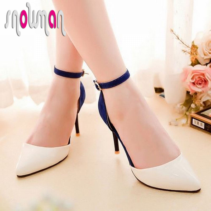 brand new 2015 high thin heels ankle strap color matching summer shoes vintage pointed toe sexy wedding shoes