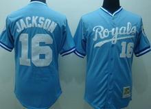 #16 Bo Jackson Jersey Kansas Royals Jersey Throwback Baseball Jersey White Blue Free Shipping Top Quality(China (Mainland))