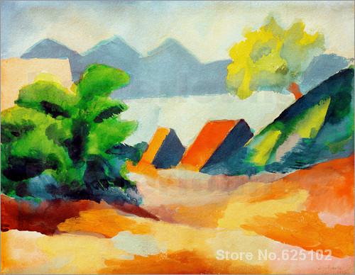 August Macke art collection,Am Thuner See I,oil on Canvas,High quality,Hand-painted(China (Mainland))