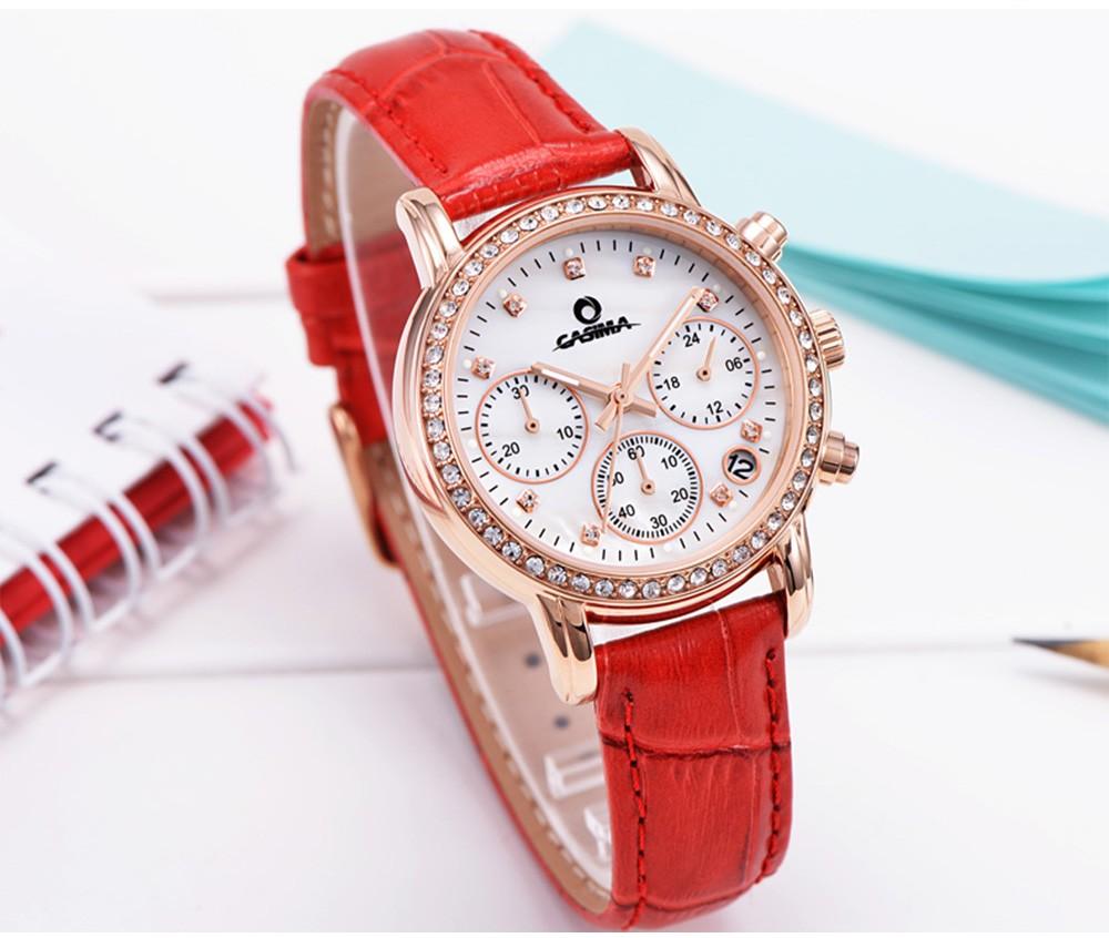 Relogio feminino часы женщины кожа алмазов кварцевые часы мода многофункциональный дамы наручные часы водонепроницаемый CASIMA #2603