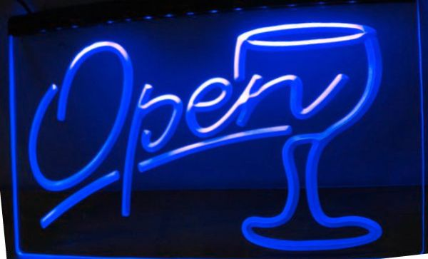 Script OPEN Glass Cocktails NEW carving signs Bar LED Neon Sign
