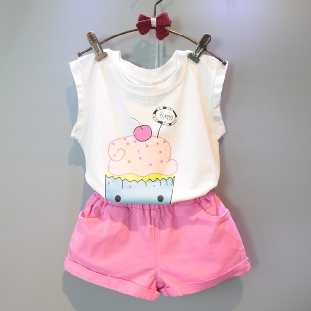 2016 летний новый детская одежда девочек мода торт с короткими рукавами футболка + шорты костюм детская одежда